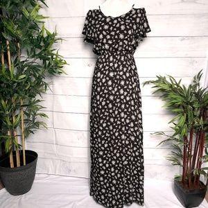 MILEY+MOLLY Black/White Floral Print Maxi Dress -S